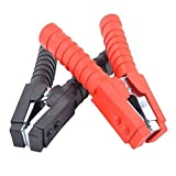 Gunpla 2 Pieces 600A Booster Battery Cable Clips 6 inch Red Black Insulated Electrical Crocodile Alligator Nickel Coated Large Test Clamps for Car