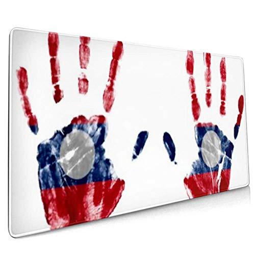 Long Mousepad (35.5x15.8in) Handprints Laos Flag Logo Design Desk Pad Keyboard Mat, Non-slip Base, Water-resistant, For Work & Gaming, Office & Home