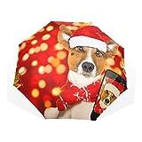 Paraguas de Viaje Imprimir Navidad Papá Noel Jack Russell Perro Paraguas a Prueba de Viento Lluvia...