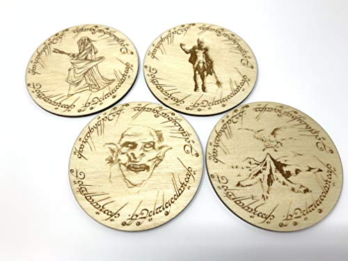 Geekilicious Art Lord of The Rings Round Coasters (Forces of Evil | Tolkien's Lord of The Rings & The Hobbit | Wood | Set of 4