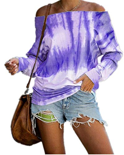 SMTM Herbst und Winter New T-Shirt Damenbekleidung Tie Dye Printing One Shoulder Langarm Top (2XL, Lila)