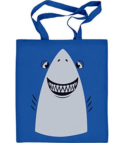 Shirtgeil Weißer Hai Karneval, Fastnacht, Fasching Kostüm Jutebeutel Baumwolltasche One Size Blau