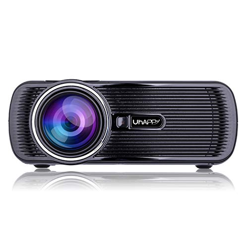 Mini proyector Smart U80 LED Sync Wireless Sync Pantalla 1080P Proyector HD con Control Remoto, Soporte USB/SD/HDMI/VGA/AV MI (Color : Black)