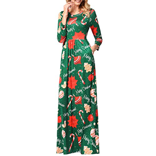 Vrouwen Vrouwen Kerst Lange Jurk Dames Lange Mouw Vintage Kerstman Print O-hals Een Lijn Lange Formele Avondjurken