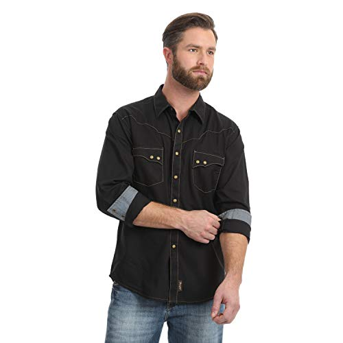 Wrangler Men's Big & Tall Retro Two Pocket Long Sleeve Snap Shirt, Black, 2X Tall