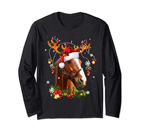 Horses Tree Christmas Sweater Xmas Pet Animal Horse Gifts Long Sleeve T-Shirt