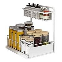 スパイスラックオーガナイザー2層スパイスラック引き出しスタンディングストレージラックカウンターシェルフ多機能食器棚収納キッチンホームバスルーム化粧品ラックカウンタートップ収納,白