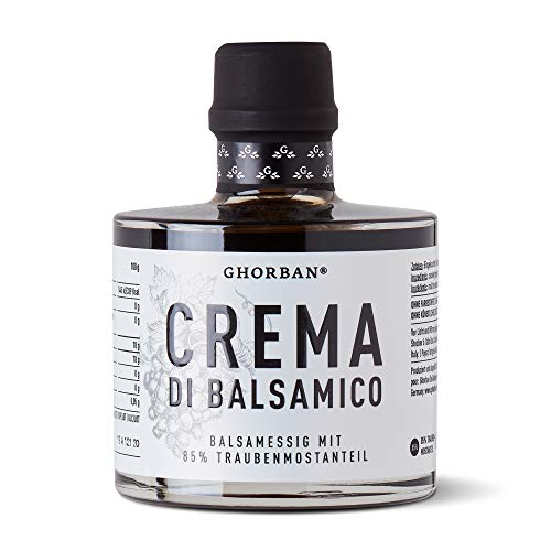 GHORBAN Crema di Balsamico (250ml) - Aceto Balsamico Creme ohne Zucker, Balsamico Essig Creme (85% Traubenmost), echter Aceto Balsamico di Modena IGP, Balsamico dickflüssig & cremig