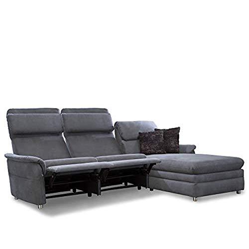 Cavadore Chalsay Sofaecke mit Longchair rechts inkl. Relaxfunktion und verstellbarem Kopfteil / mit Federkern / Eckcouch im modernen Design / Größe: 252 x 94 x 177 cm (BxHxT) / Farbe: Grau (argent)