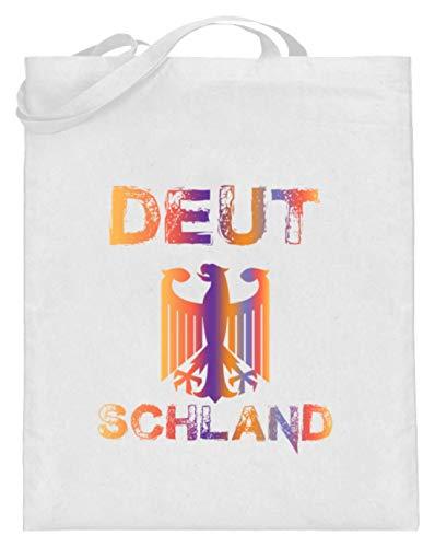 SPIRITSHIRTSHOP Deutschland - Deutsche, Deutsch, Deutschland, Land, Heimatland, Heimat, Herkunftsland - Jutebeutel (mit langen Henkeln) -38cm-42cm-Weiß