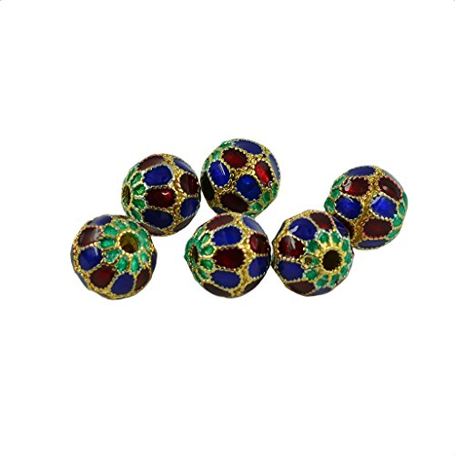 lahomia 6ps Fancy Enamel Cloisonne Round Ball Spacer Beads Craft Necklace - #5, 15mm