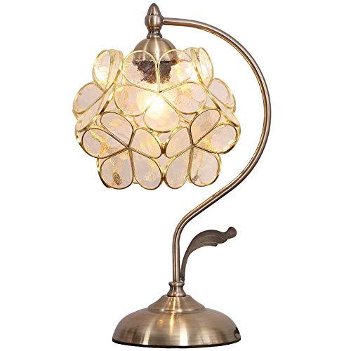 Bieye L30734 Lampada da tavolo in vetro colorato stile Tiffany in ciliegio con base in ottone vintage paralume largo 21 cm, altezza 42 cm (Bianco chiaro)