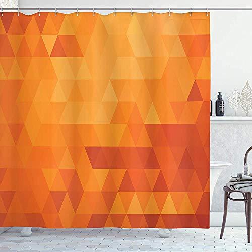 ASDAH Oranje Douche Gordijn Driehoek Mozaïek Vormen en Patronen met Abstracte Digitale Pixel Net Effect Print Doek Stof Badkamer Decor Set met Haken Verbrand Oranje 66 * 72in