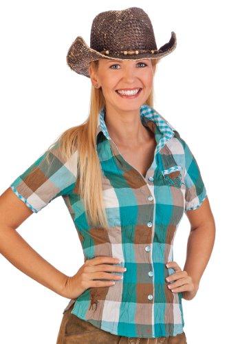 Spieth & Wensky Trachten Bluse Crashoptik, kurzer Arm - Simmy - gelb, Aqua, Größe 32