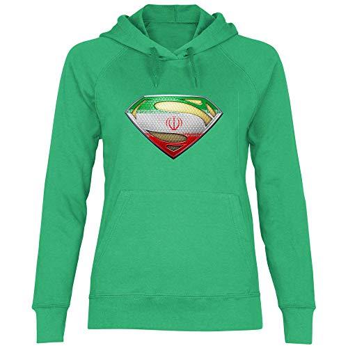 wowshirt Damen Hoodie Iran Flagge Emblem Persisch Fahne, Größe:L, Farbe:Kelly Green