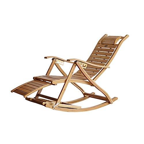 Diaod Sillón Mecedora Plegable con reposapiés y Masaje Acabado en Caoba Mecedora Plegable Muebles de Patio al Aire Libre Silla reclinable de bambú
