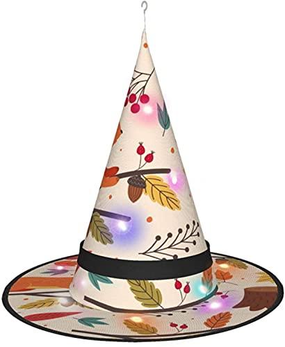 KINGAM Sombrero de bruja de ardilla y otoño con luz, para disfraz de Halloween, disfraz de disfraz, accesorio y diario