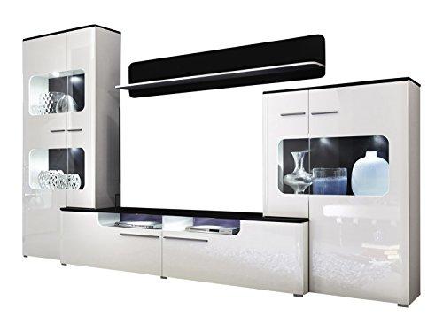trendteam LU00202 Wohnwand Wohnzimmerschrank Weiss Hochglanz, Absetzungen schwarz, BxHxT 310 x 198 x 47 cm