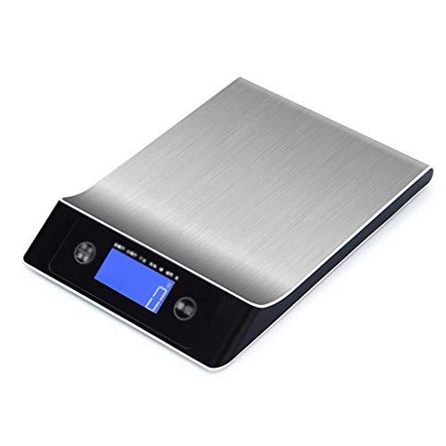 YLJJ Báscula de Cocina, báscula de Cocina electrónica de Acero Inoxidable para Alimentos, función de Tara, para Hornear, Negro (10 kg / 1 g), 24.2X16.8X3cm