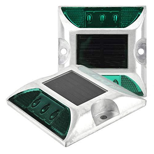 Solar plafondlampen, 6 leds, waterdicht, outdoor, oprit, straat, stud, lamp voor oprit, tuin, gazonlampen (groen licht)