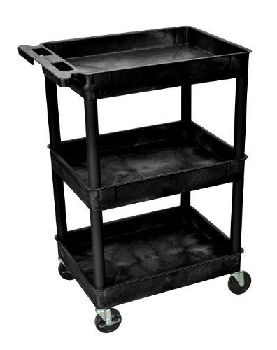 Luxor STC111 40.5' Automotive Utility Cart with 3 Shelves, Black