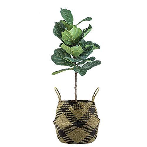 Szetosy - Cesta de junco marino natural tejida a mano, con asa, para almacenar juguetes, ropa sucia o como maceta, Estilo#6, 22CMx20CM