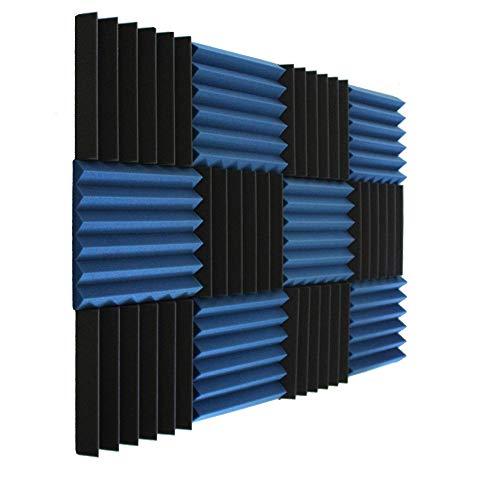 Wedge Blue Charcoal 2 Inch x 12' W x12' L Acoustic Foam Panels Recording Studio Foam (12 Pack)