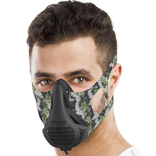 Aduro Sport High Altitude Training Mask Cardio Training Sports Mask Running Mask Breathing Training Workout Masks for Men Breathing Exercise Device (Camo)