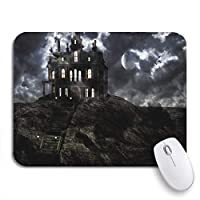 Mabby マウスマット - 240 x 200mm,Haunted Ghostly Mansion on Top of The Hill Full,for Office and Gaming,Computer Mousepad Non-Slip Rubber Base