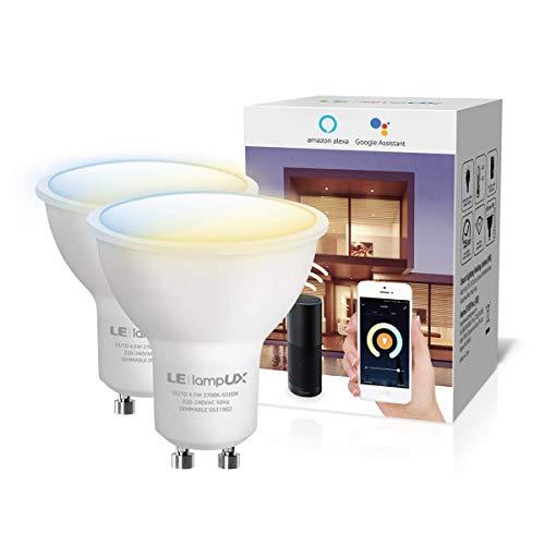 LE LampUX Bombillas Inteligentes GU10, Bombilla WIFi Funciona con Alexa y Google Home, Blanco Cálido a Frío, Bombilla LED Regulable, No Requiere Hub(410lm, 4.5W=50W, 2700K-6500K, 2.4GHz WiFi)