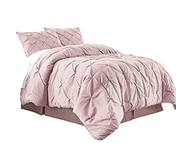 Chezmoi Collection Berlin 3-Piece Pintuck Pinch Pleat Bedding Comforter Set  King Pink