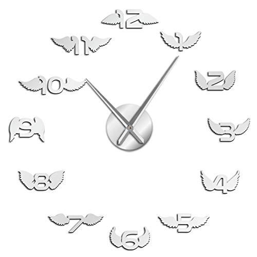 YQMJLF Reloj Pared DIY 3D Grande Alas con número 3D Reloj de Pared Grande Alas de pájaro Guardería Habitación para niños Pegatinas de Espejo de Pared sin Marco Decorativas MinimalistasPlata
