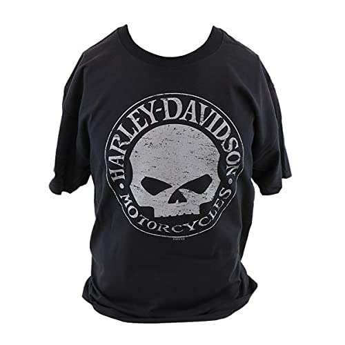 HARLEY-DAVIDSON Herren Skull T-Shirt Tee Shirt Kurzarmshirt Frontdruck Totenkopf Dealer Backprint Rundhals Schwarz, 3XL