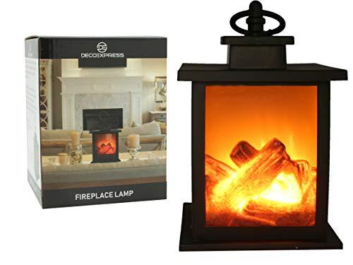 Lampada Led Finto Camino con Fiammelle Lanterna da Tavolo Luce Caminetto Elettrico con Tronchi di Legno Accessori per la Casa
