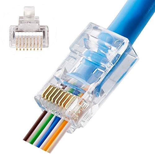 CAT6 Connectors RJ45 Pass Through Connectors 50pcs 3 Prong Ethernet Gold Plated Network Ends Plug Cable Connectors for 24AWG CAT6 CAT5E Cable