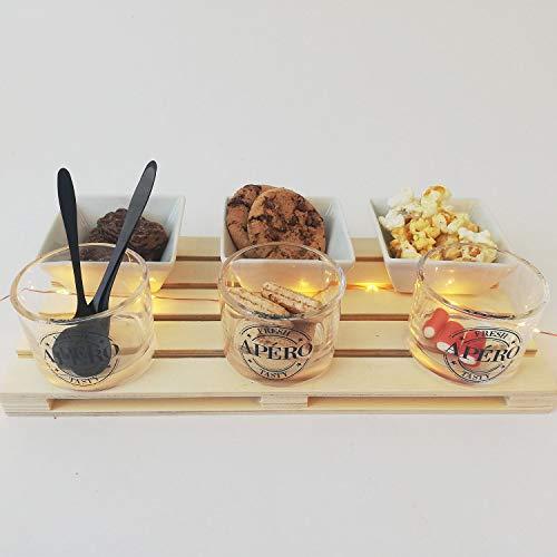 Juego de 10 cuencos para aperitivos con bandeja de madera, vaso de cristal, cuencos de cerámica y cuchara