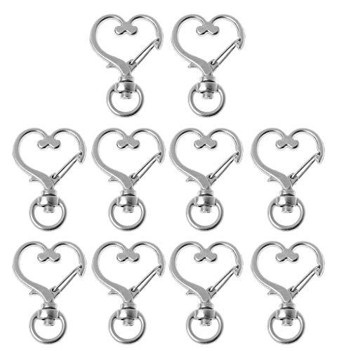 SOFEA 10 Piezas de Metal Giratorio Broche de Langosta Gancho a presión en Forma de corazón Llavero hallazgos de joyería