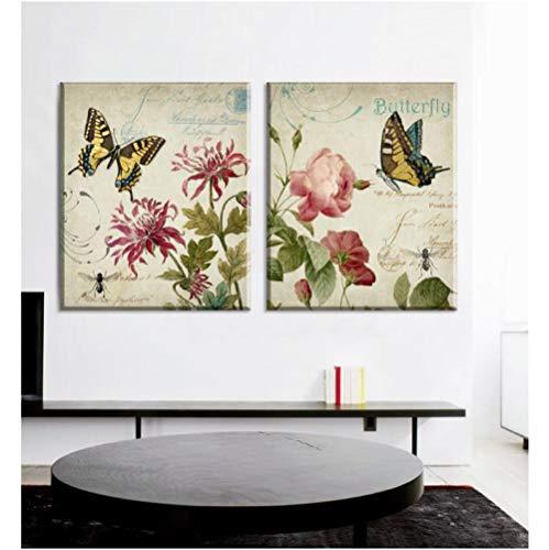 Jwqing Flores y Mariposas Arte de la Lona Pintura en la Pared decoración del hogar Vintage Cuadros de Pared para Sala de Estar (50x50cmx2 Sin Marco)