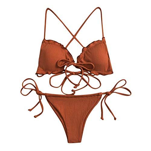DoeRal Damen Triangel Neckholder Bikini Sexy Einfarbig Geteilter Badeanzug Bandage Beachwear Set