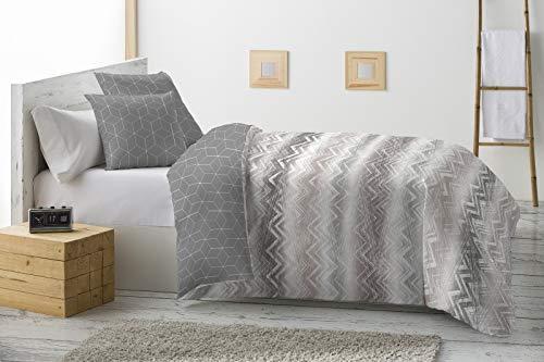 Energy Colors Textil - Hogar - Grecia - Relleno Nórdico 350 gr Reversible Estampado Tacto Pluma Otoño/Invierno (Oyex Gris, 250_x_260_cm (Cama 150))