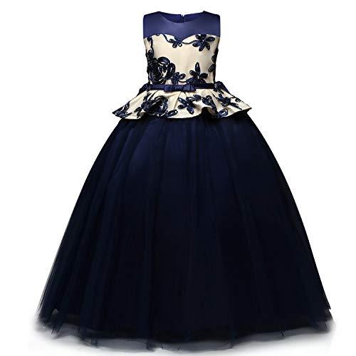 TTYAOVO Chicas Unicornio Fancy Vestido Princesa Flor Desfile de Niños Vestidos sin Mangas Volantes Vestido de Fiesta 8-9 Años 03 Rosado