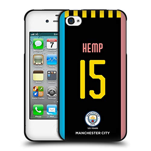 Head Case Designs Oficial Manchester City Man City FC Cáñamo Lauren 2019/20 Funda de Gel Negro Compatible con Apple iPhone 4 / iPhone 4S