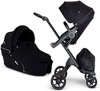 Stokke Xplory V6 Black Chassis Stroller with Black Leatherette Handle, Black with Carry Cot