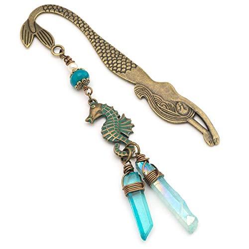 Aqua Blue Aura Quartz Gemstone Bronze Seahorse Mermaid Metal Bookmark 4.7 Inches