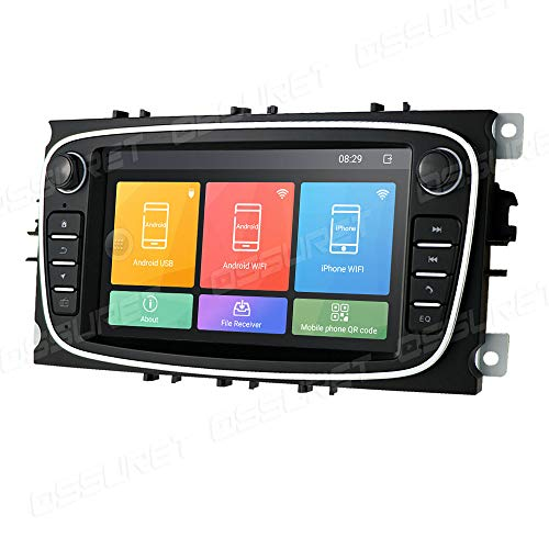 Android 10 Car GPS Navigation Fit para Ford Mondeo/Focus/S-MAX/C-MAX/Galaxy/Kuga/Transit Connect Soporte Control del Volante Bluetooth Mirror-Link Radio FM