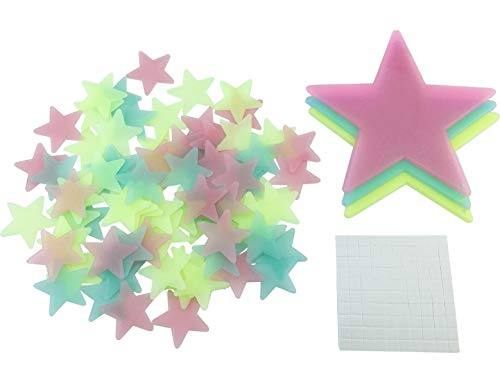 """HoneyToys 204PCS 1.2"""" Luminous Stars Fluorescent Noctilucent Plastic Wall Stickers Decals for Home Ceiling Wall Baby Kids Bedroom (Multi-Color)"""