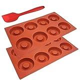 SourceTon - Molde de silicona para donut de 8 cavidades con espátula, 3 unidades, paquete de 3 sartenes y espátulas, antiadherente, resistente al calor, flexible, marrón
