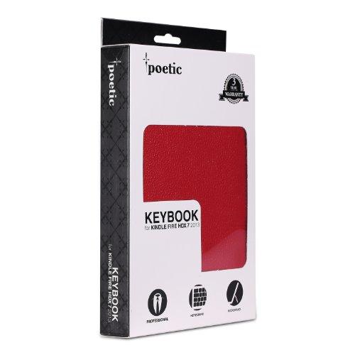 Poetic KeyBook con Tapa y Teclado Bluetooth con función automática Smart Cover función de hibernación y Encendido para Amazon Kindle Fire HDX 7 2nd generación 2013 17,78 cm Tablet - de Color Rojo