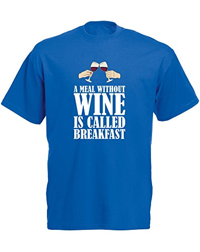 "Brand88 A Meal Without Wine Is Called Breakfast - Camiseta de manga corta para hombre, diseño con texto en inglés ""A Meal Without Wine Is Called Breakfast"", color azul y blanco"