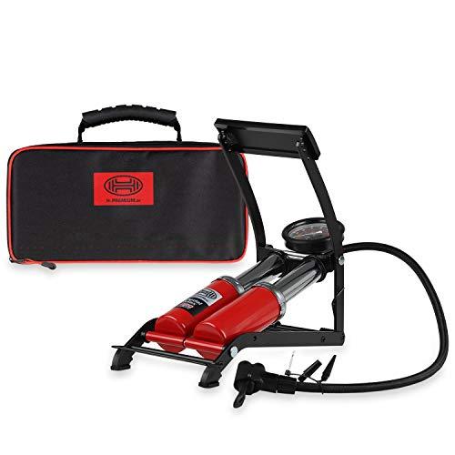 HEYNER® 22500N Fußluftpumpe Doppelzylinder 2 Zylinder mit Manometer bis 10 bar + Tasche